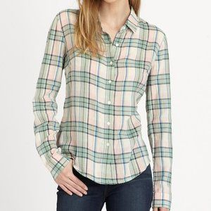 James Perse Sail Plaid Button Down Shirt Size 2